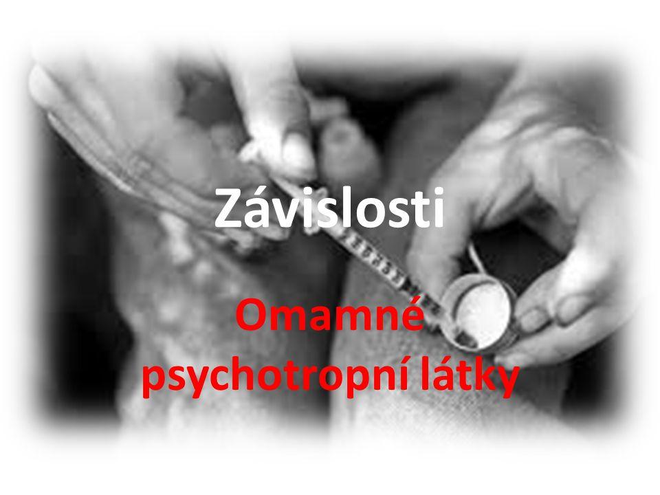 Rozdělení drog Podle účinku na psychiku: – Tlumivé látky (narkotika)-zpomalují psychomotorické tempo, malé dávky zklidní, vyšší navodí spánek, kóma až zástavu životních funkcí – Psychomotorická stimulancia- zbaví člověka únavy, urychlí myšlenkové tempo, aktivují motoriku – halucinogeny- vyvolají změny vnímání od pouhého zostření až po stavy podobné schizofrenii