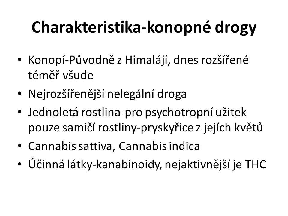 Charakteristika-konopné drogy Konopí-Původně z Himalájí, dnes rozšířené téměř všude Nejrozšířenější nelegální droga Jednoletá rostlina-pro psychotropn