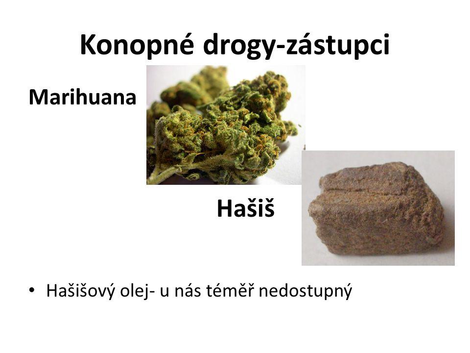 Konopné drogy-zástupci Marihuana Hašiš Hašišový olej- u nás téměř nedostupný