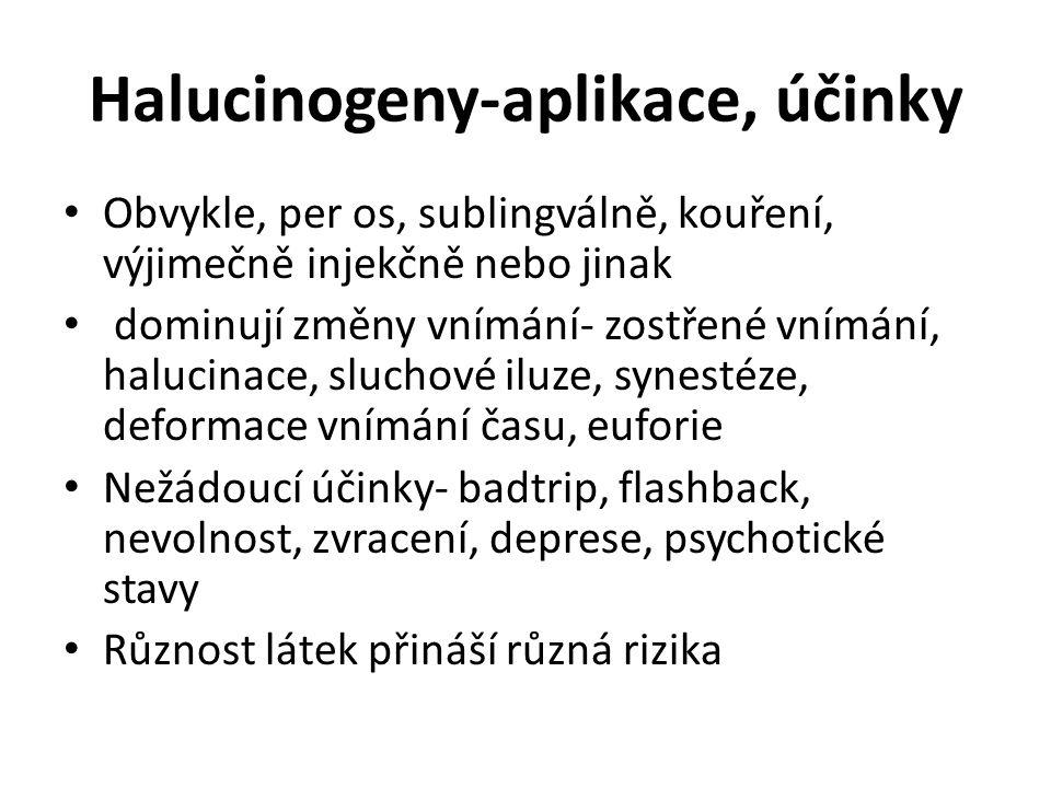 Halucinogeny-aplikace, účinky Obvykle, per os, sublingválně, kouření, výjimečně injekčně nebo jinak dominují změny vnímání- zostřené vnímání, halucina