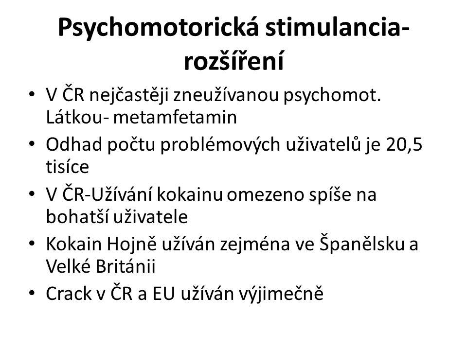 Psychomotorická stimulancia- rozšíření V ČR nejčastěji zneužívanou psychomot. Látkou- metamfetamin Odhad počtu problémových uživatelů je 20,5 tisíce V