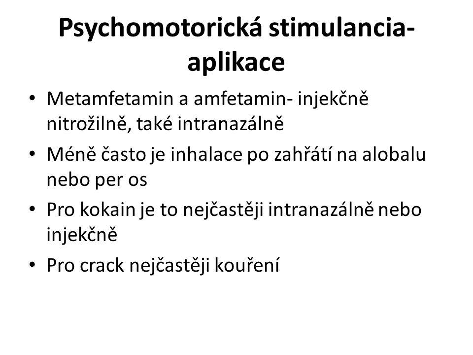 Psychomotorická stimulancia- aplikace Metamfetamin a amfetamin- injekčně nitrožilně, také intranazálně Méně často je inhalace po zahřátí na alobalu ne