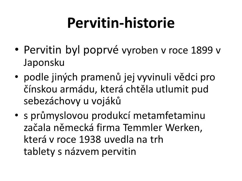 Pervitin-historie Pervitin byl poprvé vyroben v roce 1899 v Japonsku podle jiných pramenů jej vyvinuli vědci pro čínskou armádu, která chtěla utlumit