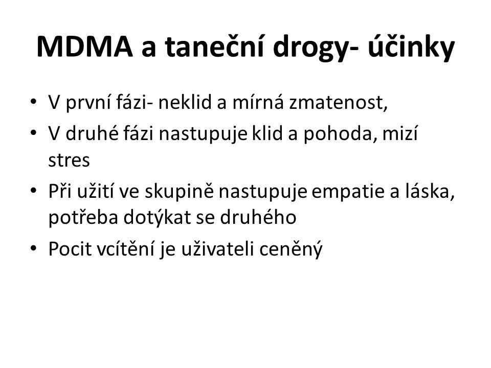 MDMA a taneční drogy- účinky V první fázi- neklid a mírná zmatenost, V druhé fázi nastupuje klid a pohoda, mizí stres Při užití ve skupině nastupuje e