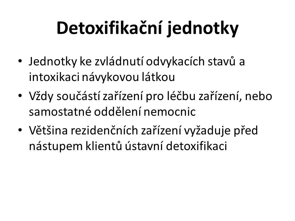 Detoxifikační jednotky Jednotky ke zvládnutí odvykacích stavů a intoxikaci návykovou látkou Vždy součástí zařízení pro léčbu zařízení, nebo samostatné