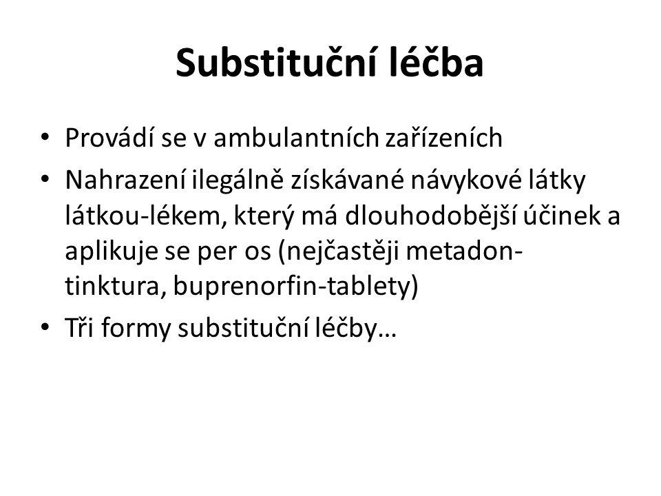 Substituční léčba Provádí se v ambulantních zařízeních Nahrazení ilegálně získávané návykové látky látkou-lékem, který má dlouhodobější účinek a aplik