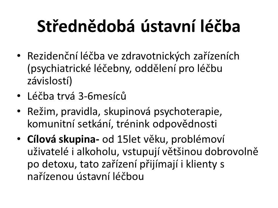 Střednědobá ústavní léčba Rezidenční léčba ve zdravotnických zařízeních (psychiatrické léčebny, oddělení pro léčbu závislostí) Léčba trvá 3-6mesíců Re
