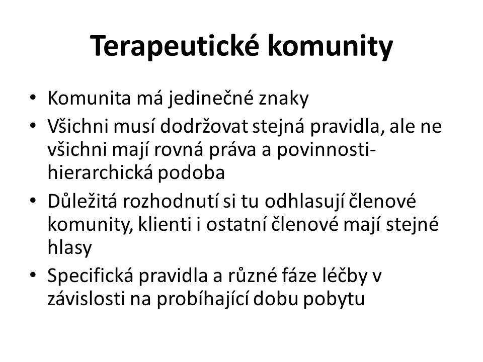 Terapeutické komunity Komunita má jedinečné znaky Všichni musí dodržovat stejná pravidla, ale ne všichni mají rovná práva a povinnosti- hierarchická p