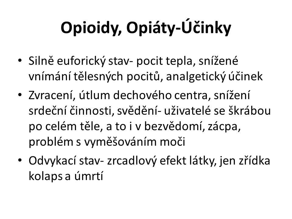 Opioidy, Opiáty-Účinky Silně euforický stav- pocit tepla, snížené vnímání tělesných pocitů, analgetický účinek Zvracení, útlum dechového centra, sníže