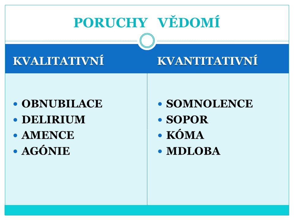 KVALITATIVNÍ KVANTITATIVNÍ OBNUBILACE DELIRIUM AMENCE AGÓNIE SOMNOLENCE SOPOR KÓMA MDLOBA PORUCHY VĚDOMÍ