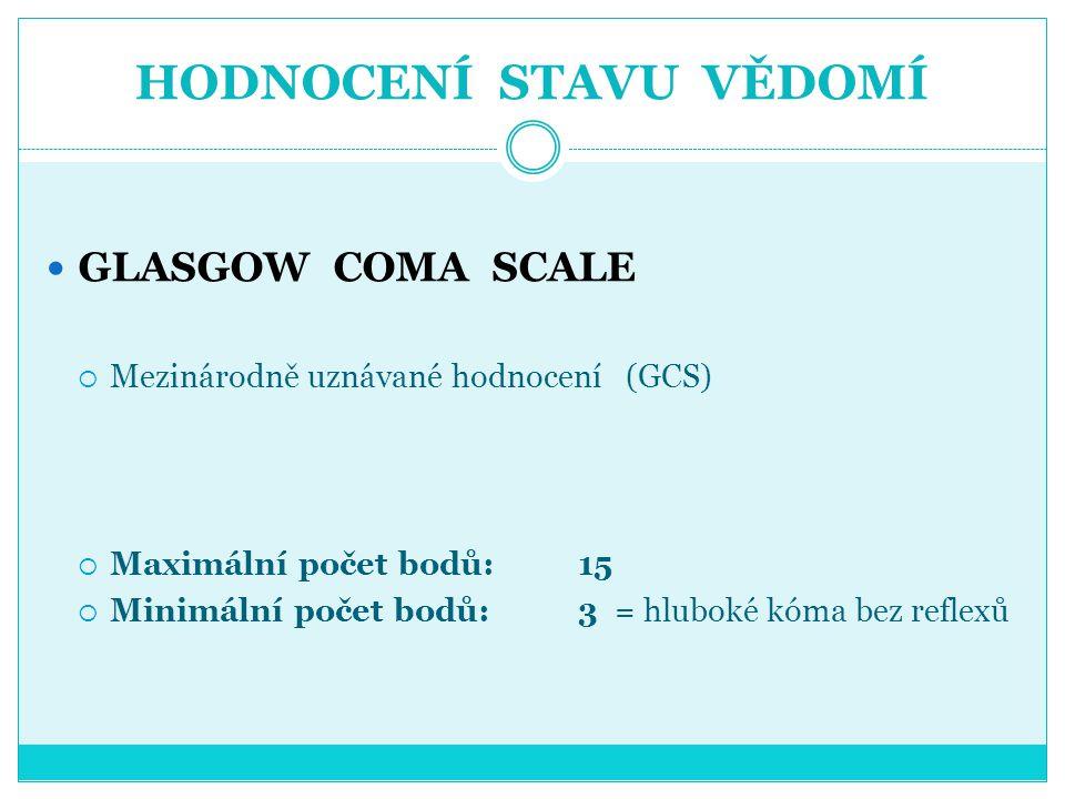 HODNOCENÍ STAVU VĚDOMÍ GLASGOW COMA SCALE  Mezinárodně uznávané hodnocení (GCS)  Maximální počet bodů: 15  Minimální počet bodů: 3 = hluboké kóma b