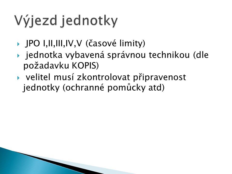  JPO I,II,III,IV,V (časové limity)  jednotka vybavená správnou technikou (dle požadavku KOPIS)  velitel musí zkontrolovat připravenost jednotky (ochranné pomůcky atd)
