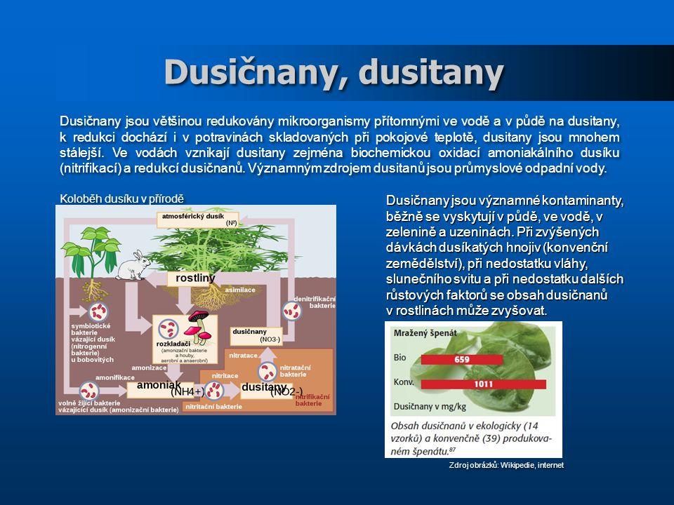 Dusičnany, dusitany Dusičnany jsou většinou redukovány mikroorganismy přítomnými ve vodě a v půdě na dusitany, k redukci dochází i v potravinách skladovaných při pokojové teplotě, dusitany jsou mnohem stálejší.