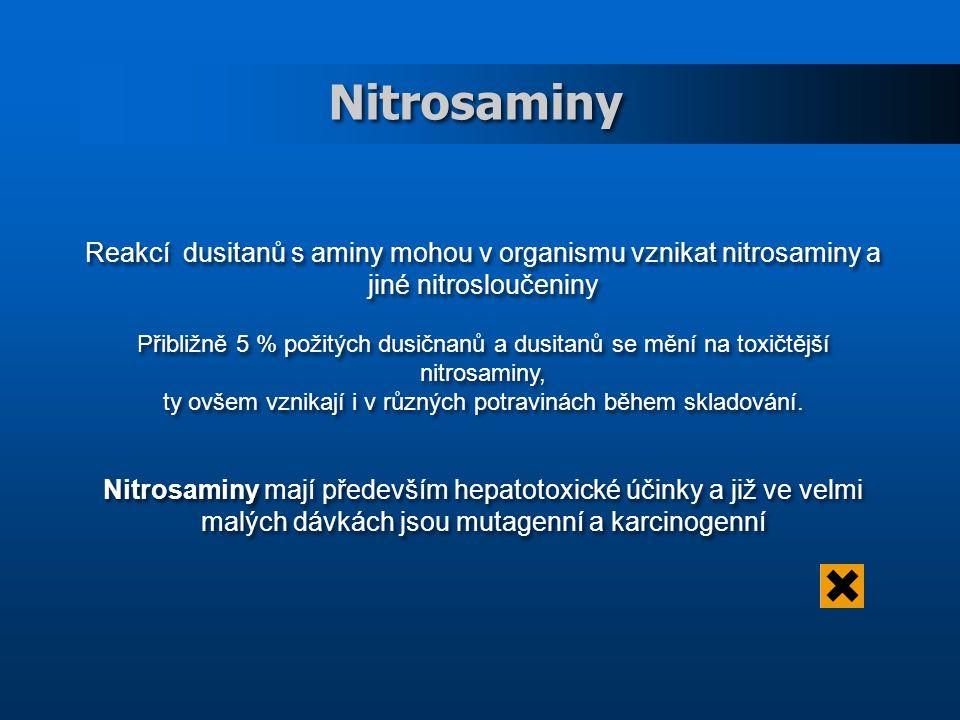 Nitrosaminy Reakcí dusitanů s aminy mohou v organismu vznikat nitrosaminy a jiné nitrosloučeniny Přibližně 5 % požitých dusičnanů a dusitanů se mění na toxičtější nitrosaminy, ty ovšem vznikají i v různých potravinách během skladování.