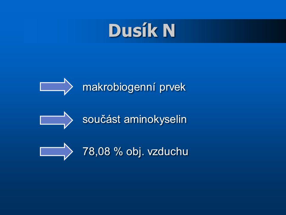 Dusík N makrobiogenní prvek součást aminokyselin 78,08 % obj.