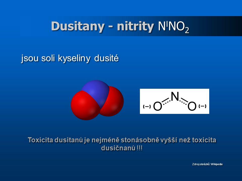 Dusitany - nitrity N I NO 2 jsou soli kyseliny dusité Toxicita dusitanů je nejméně stonásobně vyšší než toxicita dusičnanů !!.