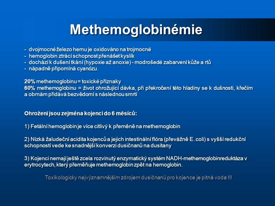 Methemoglobinémie - dvojmocné železo hemu je oxidováno na trojmocné - hemoglobin ztrácí schopnost přenášet kyslík - dochází k dušení tkání (hypoxie až anoxie) - modrošedé zabarvení kůže a rtů - nápadně připomíná cyanózu.