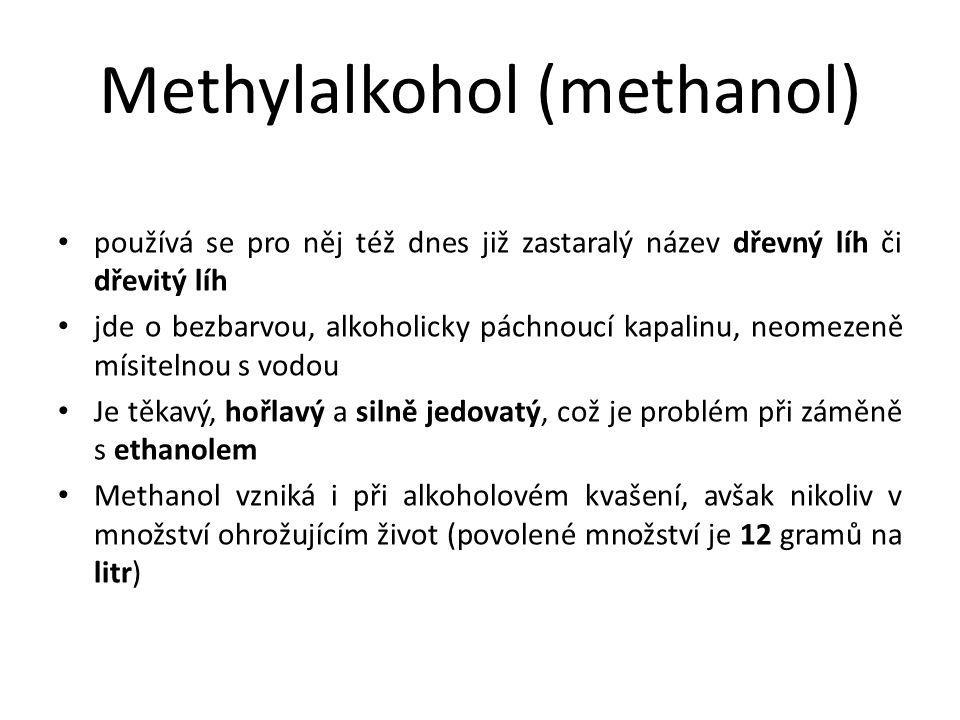Rozpoznání methanolu methanol se prokazuje laboratorně plynovou chromatografií, podle chuti, vůně ani vzhledu ho rozpoznat nelze orientačně ho bezpečně nelze odlišit ani podle barvy plamene líh v běžném alkoholu (tj.