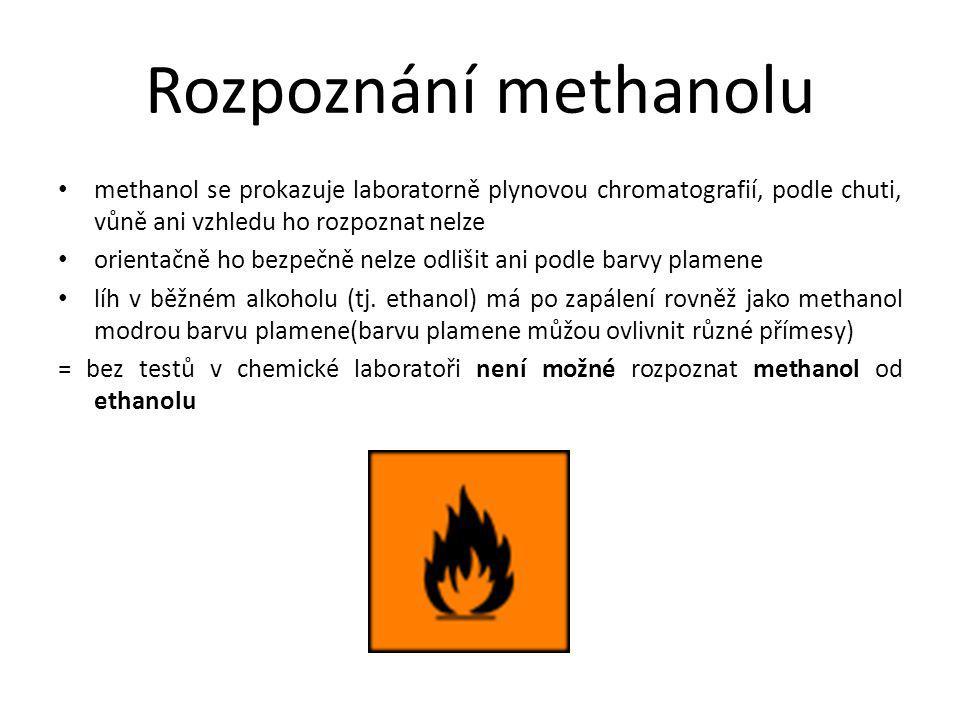 Rozpoznání methanolu methanol se prokazuje laboratorně plynovou chromatografií, podle chuti, vůně ani vzhledu ho rozpoznat nelze orientačně ho bezpečn