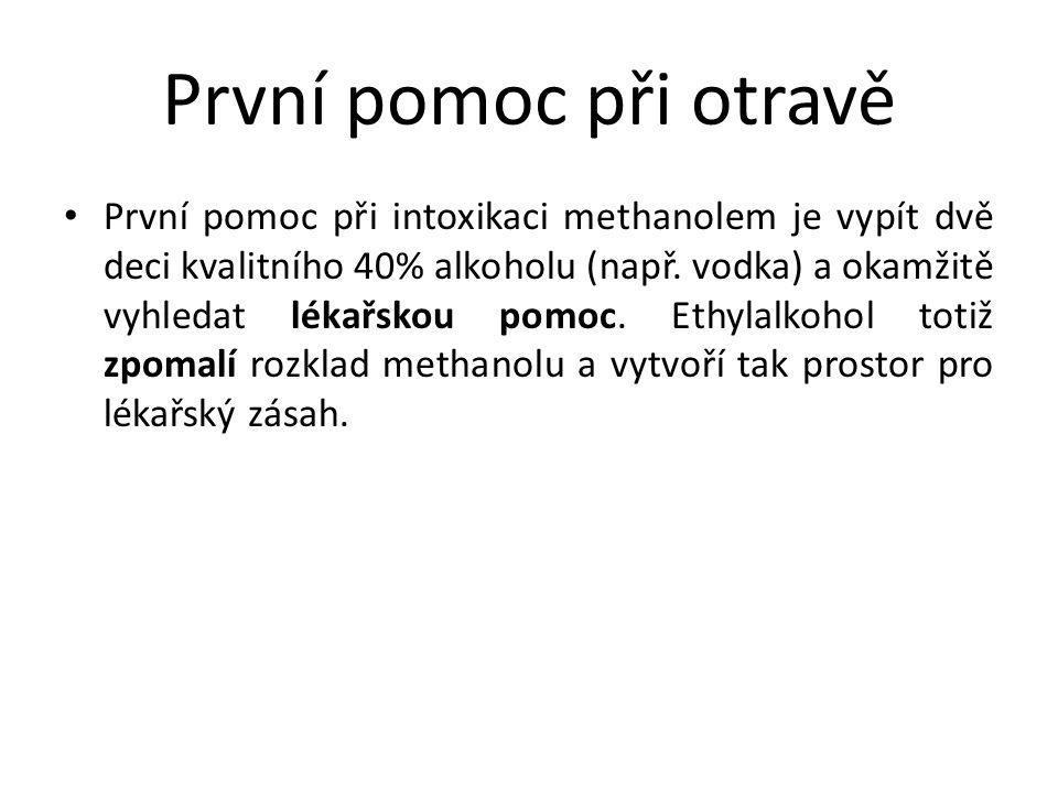 První pomoc při otravě První pomoc při intoxikaci methanolem je vypít dvě deci kvalitního 40% alkoholu (např. vodka) a okamžitě vyhledat lékařskou pom