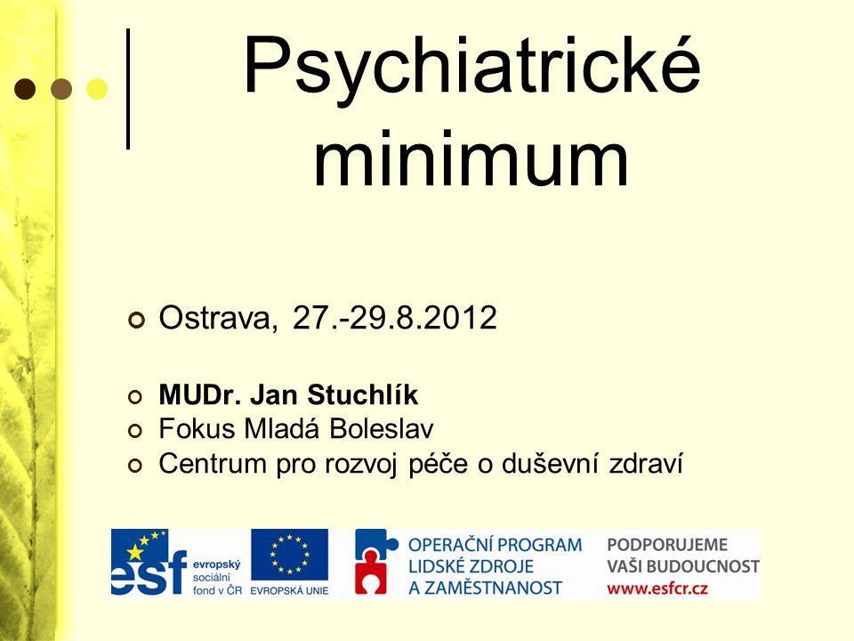 Obsah Co je duševní nemoc Péče o duševně nemocné v ČR Symptomatologie duševních poruch Diagnostika duševních poruch Léčebné postupy v psychiatrii Lůžková psychiatrická péče z hlediska práv uživatelů Co je nového v léčebnách ?