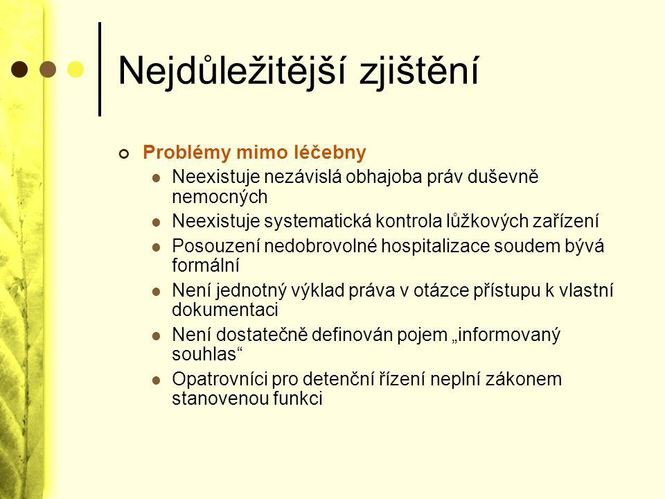 Nejdůležitější zjištění Problémy mimo léčebny Neexistuje nezávislá obhajoba práv duševně nemocných Neexistuje systematická kontrola lůžkových zařízení