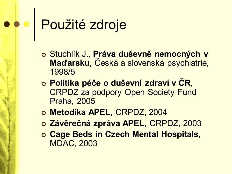 Použité zdroje Stuchlík J., Práva duševně nemocných v Maďarsku, Česká a slovenská psychiatrie, 1998/5 Politika péče o duševní zdraví v ČR, CRPDZ za po