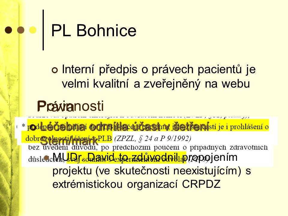 PL Bohnice Interní předpis o právech pacientů je velmi kvalitní a zveřejněný na webu Léčebna odmítla účast v šetření Stem/mark MUDr. David to zdůvodni