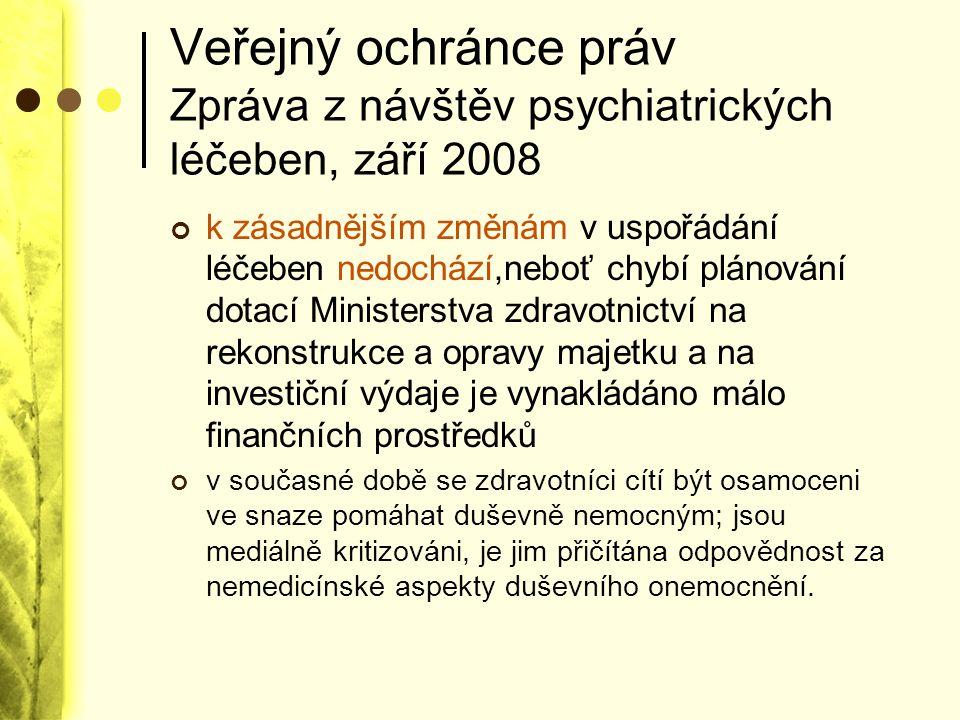 Veřejný ochránce práv Zpráva z návštěv psychiatrických léčeben, září 2008 k zásadnějším změnám v uspořádání léčeben nedochází,neboť chybí plánování do