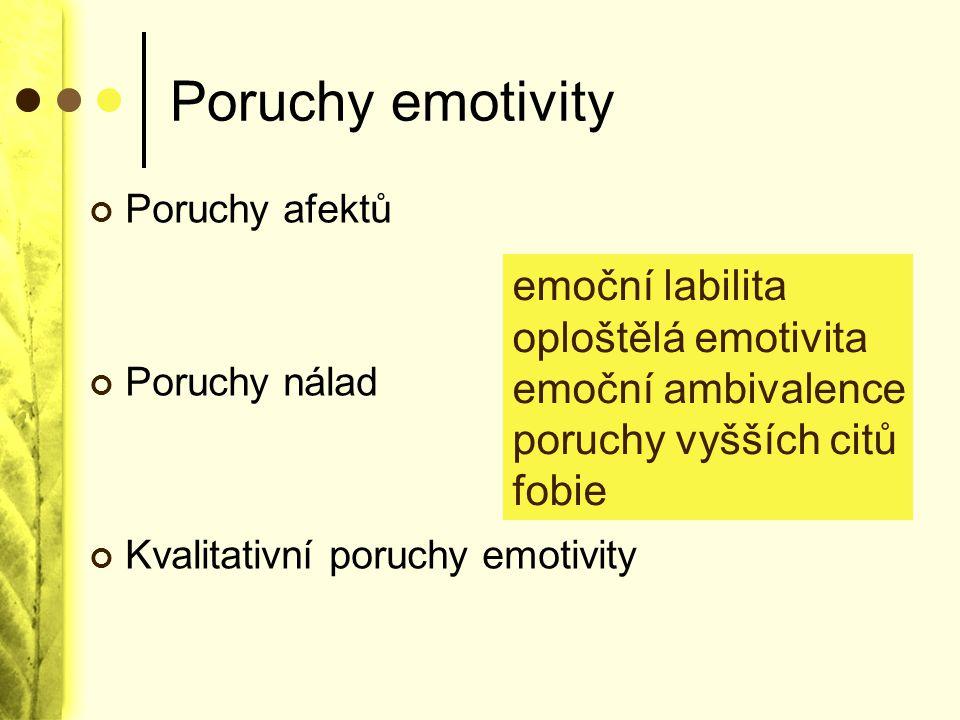 Poruchy emotivity Poruchy afektů Poruchy nálad Kvalitativní poruchy emotivity emoční labilita oploštělá emotivita emoční ambivalence poruchy vyšších c
