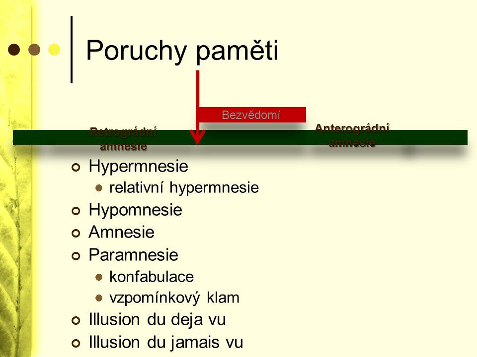 Poruchy paměti Hypermnesie relativní hypermnesie Hypomnesie Amnesie Paramnesie konfabulace vzpomínkový klam Illusion du deja vu Illusion du jamais vu