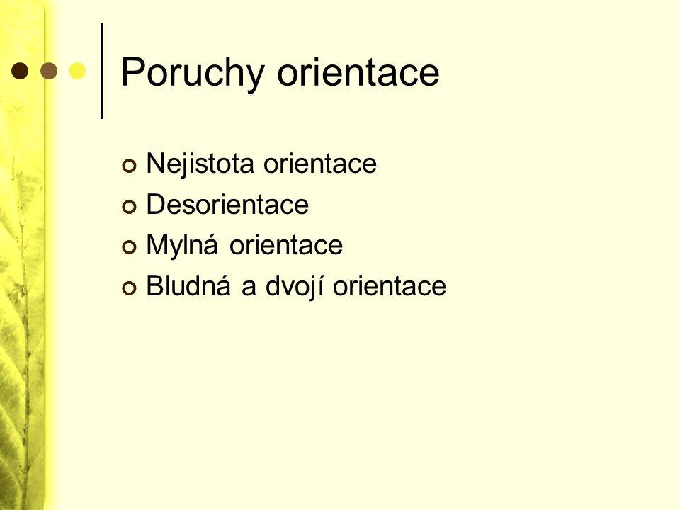 Poruchy orientace Nejistota orientace Desorientace Mylná orientace Bludná a dvojí orientace