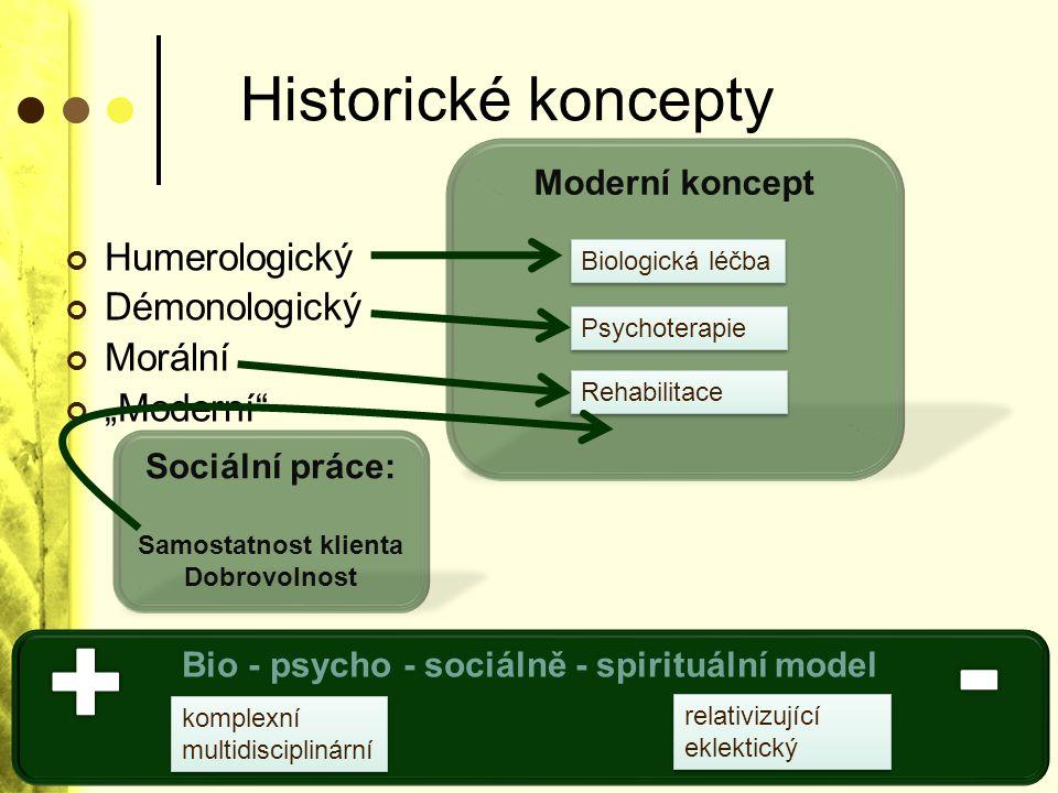 """Historické koncepty Humerologický Démonologický Morální """"Moderní"""" Moderní koncept Biologická léčba Psychoterapie Rehabilitace Sociální práce: Samostat"""