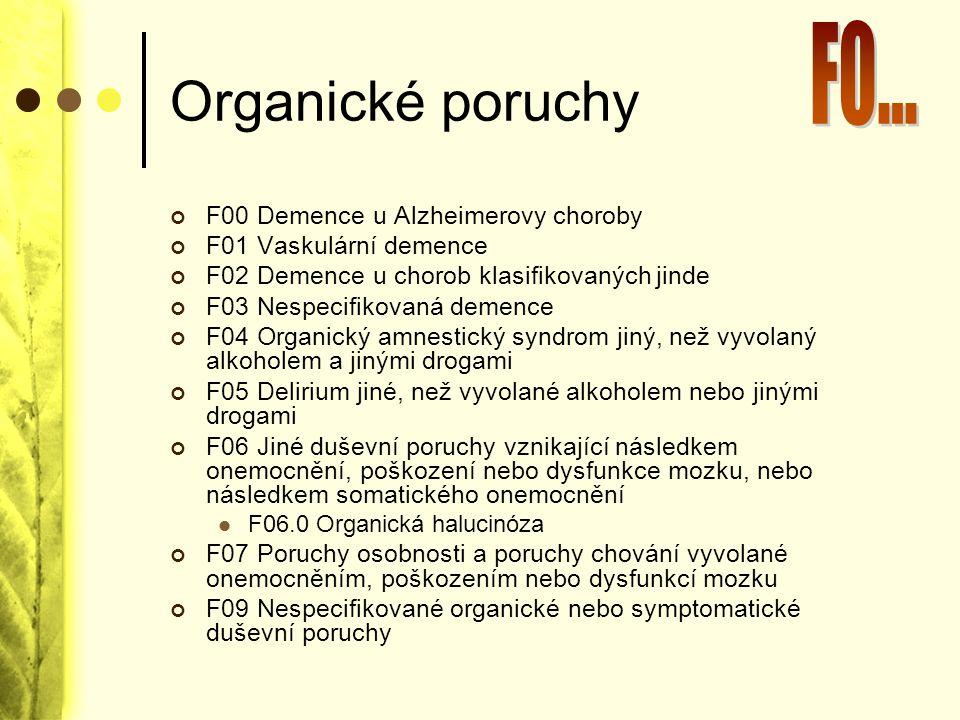 Organické poruchy F00 Demence u Alzheimerovy choroby F01 Vaskulární demence F02 Demence u chorob klasifikovaných jinde F03 Nespecifikovaná demence F04