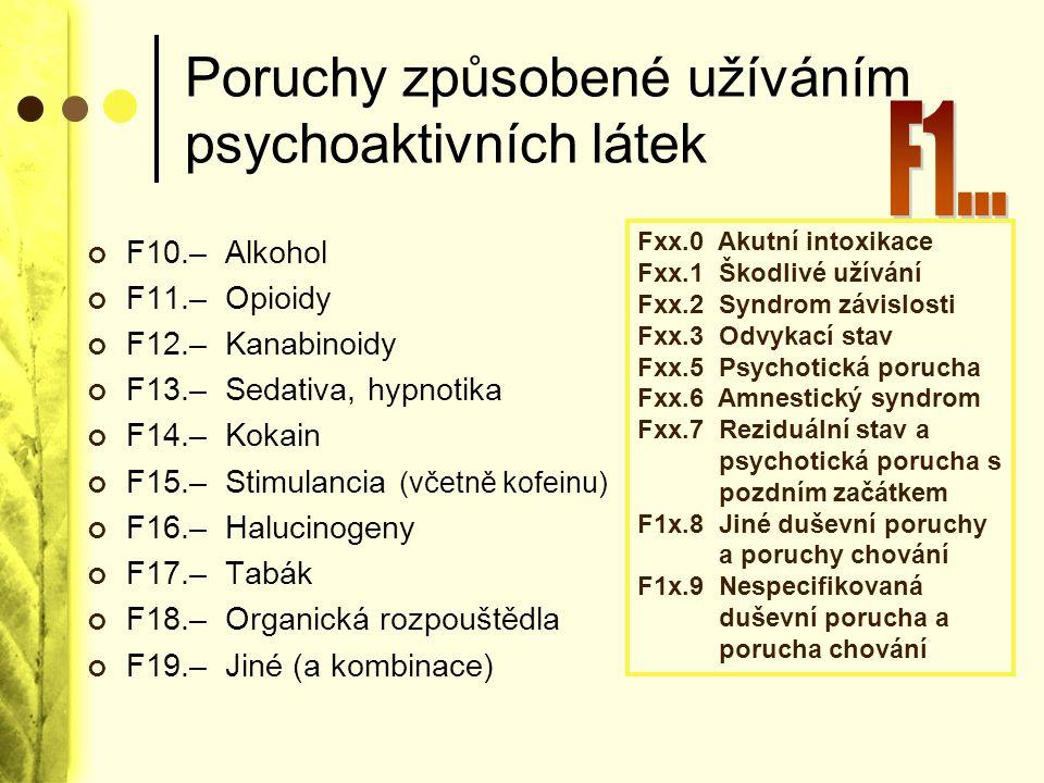 Poruchy způsobené užíváním psychoaktivních látek F10.– Alkohol F11.– Opioidy F12.– Kanabinoidy F13.– Sedativa, hypnotika F14.– Kokain F15.– Stimulanci