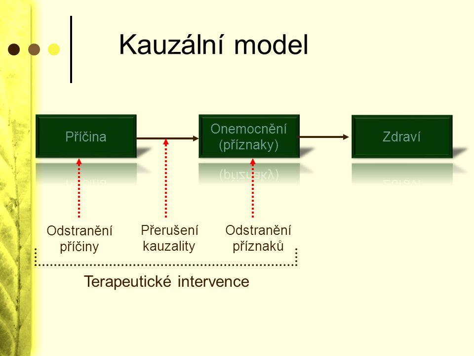 Kauzální model Odstranění příčiny Přerušení kauzality Odstranění příznaků Terapeutické intervence