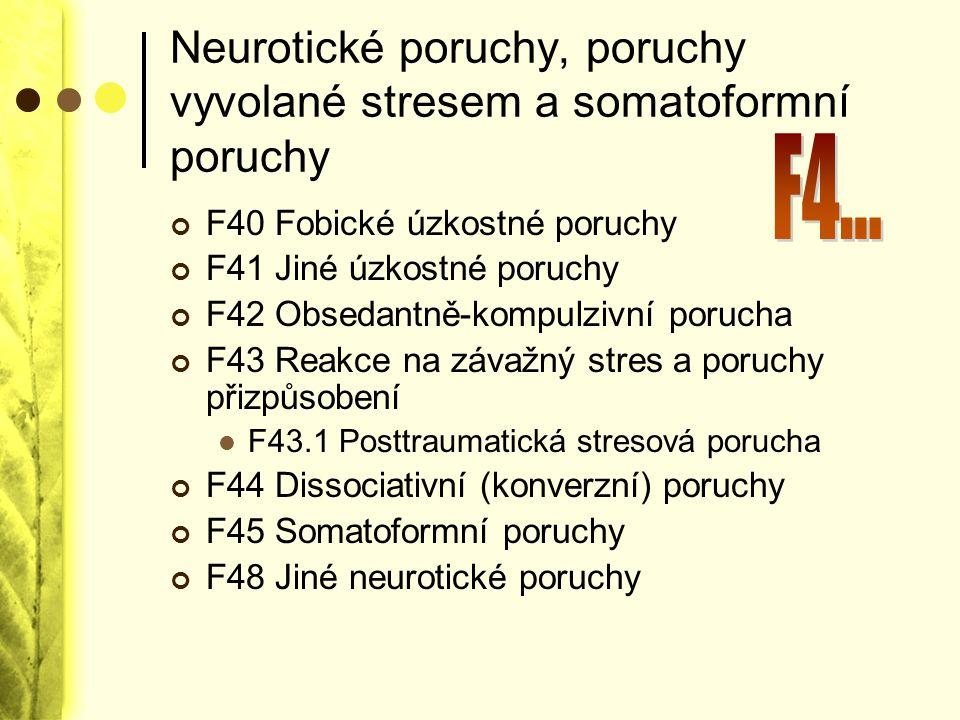 Neurotické poruchy, poruchy vyvolané stresem a somatoformní poruchy F40 Fobické úzkostné poruchy F41 Jiné úzkostné poruchy F42 Obsedantně-kompulzivní