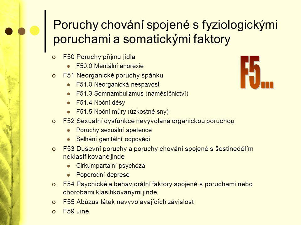 Poruchy chování spojené s fyziologickými poruchami a somatickými faktory F50 Poruchy příjmu jídla F50.0 Mentální anorexie F51 Neorganické poruchy spán