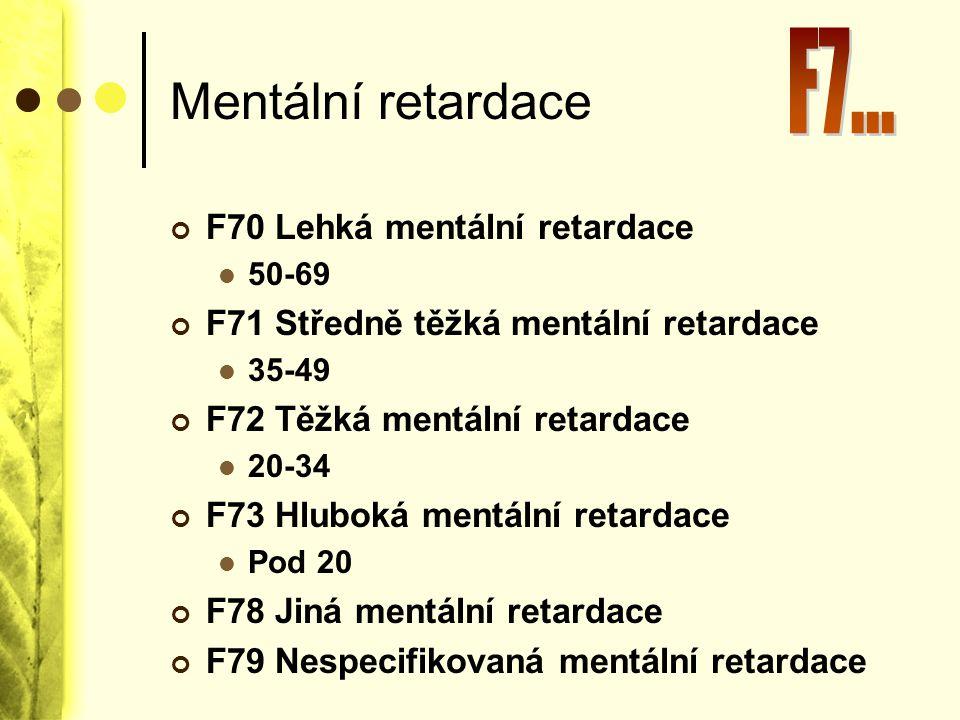 Mentální retardace F70 Lehká mentální retardace 50-69 F71 Středně těžká mentální retardace 35-49 F72 Těžká mentální retardace 20-34 F73 Hluboká mentál