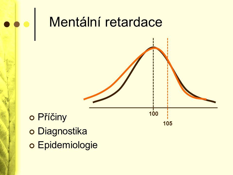 Mentální retardace Příčiny Diagnostika Epidemiologie 100 105