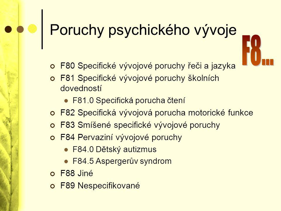 Poruchy psychického vývoje F80 Specifické vývojové poruchy řeči a jazyka F81 Specifické vývojové poruchy školních dovedností F81.0 Specifická porucha
