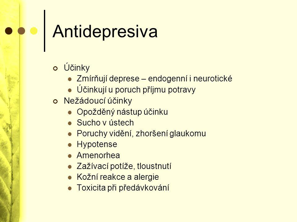 Antidepresiva Účinky Zmírňují deprese – endogenní i neurotické Účinkují u poruch příjmu potravy Nežádoucí účinky Opožděný nástup účinku Sucho v ústech