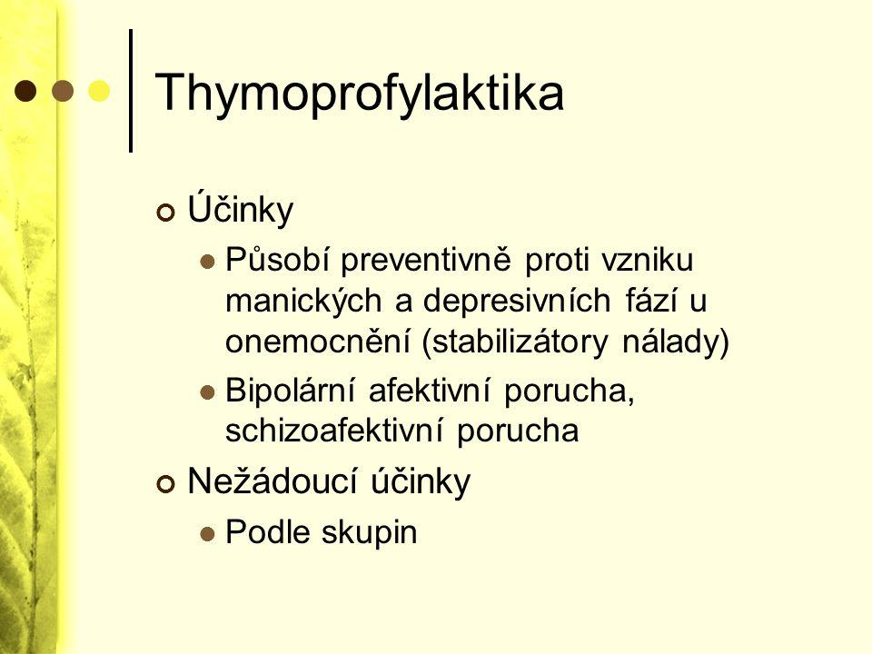 Thymoprofylaktika Účinky Působí preventivně proti vzniku manických a depresivních fází u onemocnění (stabilizátory nálady) Bipolární afektivní porucha