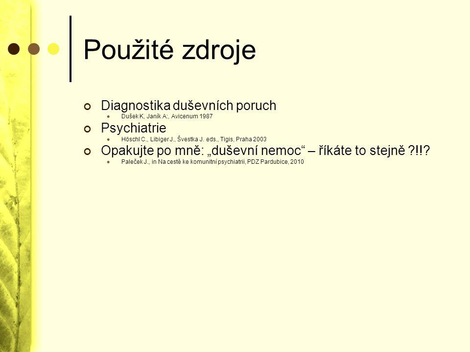 Použité zdroje Diagnostika duševních poruch Dušek K, Janík A:, Avicenum 1987 Psychiatrie Höschl C., Libiger J., Švestka J. eds., Tigis, Praha 2003 Opa