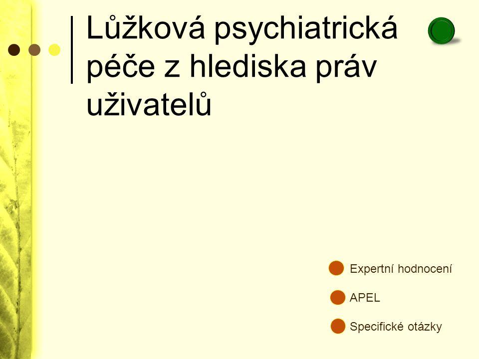 Lůžková psychiatrická péče z hlediska práv uživatelů Expertní hodnocení APEL Specifické otázky