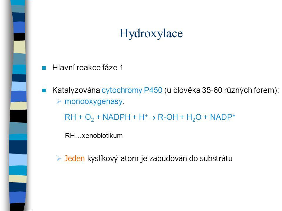 Hydroxylace Hlavní reakce fáze 1 Katalyzována cytochromy P450 (u člověka 35-60 různých forem):  monooxygenasy: RH + O 2 + NADPH + H +  R-OH + H 2 O