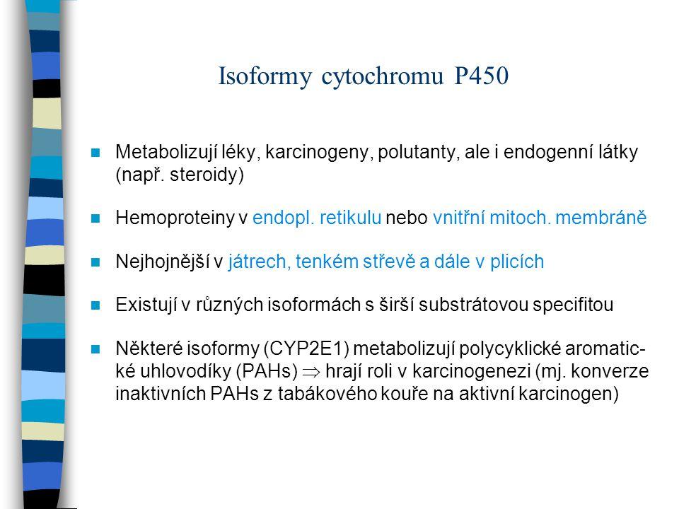 Isoformy cytochromu P450 Metabolizují léky, karcinogeny, polutanty, ale i endogenní látky (např. steroidy) Hemoproteiny v endopl. retikulu nebo vnitřn