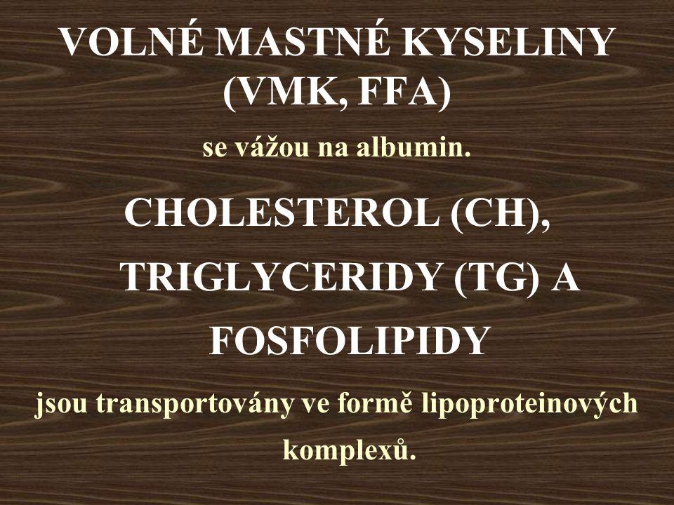 VOLNÉ MASTNÉ KYSELINY (VMK, FFA) se vážou na albumin. CHOLESTEROL (CH), TRIGLYCERIDY (TG) A FOSFOLIPIDY jsou transportovány ve formě lipoproteinových