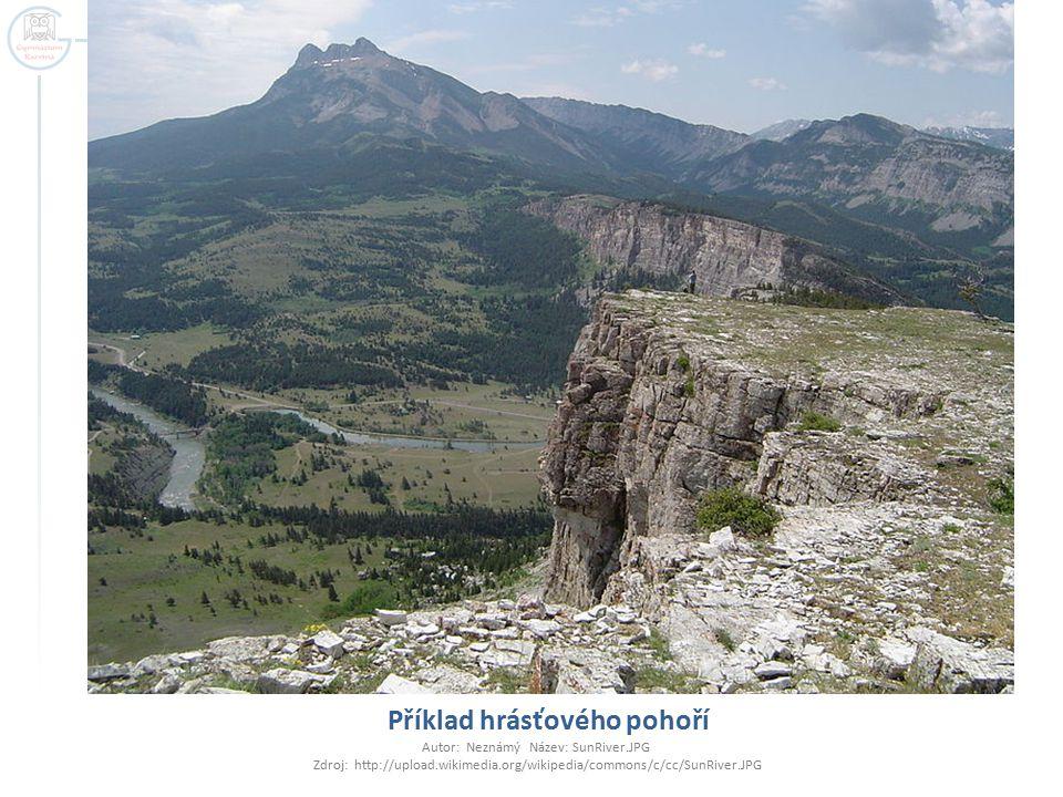 Příklad hrásťového pohoří Autor: Neznámý Název: SunRiver.JPG Zdroj: http://upload.wikimedia.org/wikipedia/commons/c/cc/SunRiver.JPG
