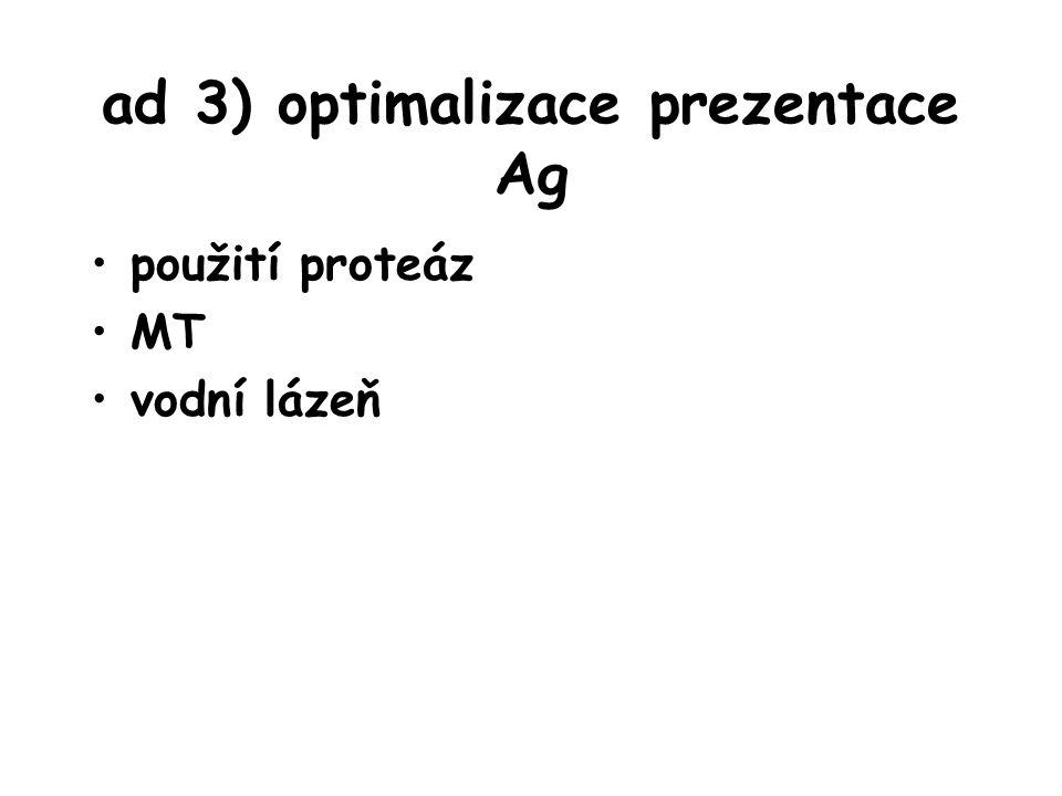 ad 3) optimalizace prezentace Ag použití proteáz MT vodní lázeň